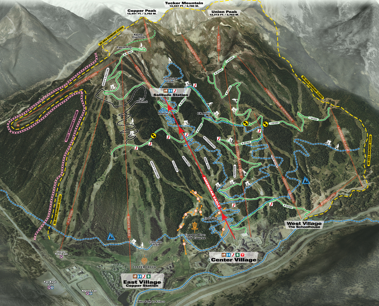 Copper Mountain Summer Mountain Bike Trail Map